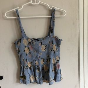 Blue floral tank with peplum style